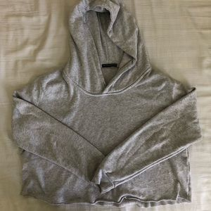brandy melville cropped grey lennon hoodie